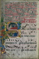 [Leaf from a Gradual: Initial S with the Brith of the Virgin, Initial S with the Birth of the Virgin: Leaf from a Gradual]