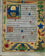 [Three Leaves from a Psalter and Prayerbook: Ornamental Border with Pea Vines and a Girl Kneading Bread, Three Leaves from a Psalter and Prayerbook: Carnations, a Thistle, and a Cook Ladling Soup, Ornamental Borders with Pea Vines and a Girl Kneading Bread: Leaf from a Psalter and Prayerbook]