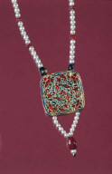 Enameled Pendant With Pearl Chain