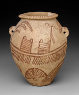 Ovoid jar with painted boat