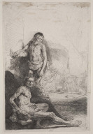 Nude Man Seated and Another Standing, with a Woman and Baby Lightly Etched in the Background