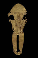 Male effigy figure holding a sinuous, serpent-like form