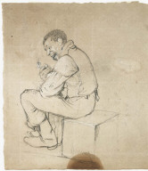 Man Seated Holding a Pipe (Study for IN THE WOODSHED)