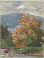 Autumn Foliage with Two Youths Fishing