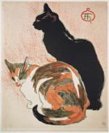 Two Cats. Poster for Exposition de l'oeuvre dessiné et peint de T. A. Steinlen