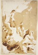 Recto: The Annunciation Verso: Study of the Lower Half of a Seated Male Nude