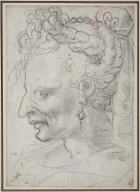 Double-sided drawing; Recto Profile Head of Old Woman with Elaborate Coiffure, Verso Anatomical Studies of Arms and Legs