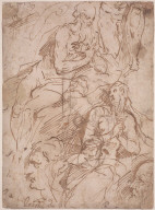Sheet of Studies, including a Penitent St. Jerome, a Magdalene, and two Heads Verso: Study for Christ Bound to the Column