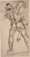 Warrior with Raised Shield, Seen from Behind (recto); Two Studies of the Penitent St. Jerome (verso)