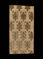 Textile fragment with strawberry plants and Butterflies