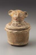 Jaguar effigy cache vessel lid