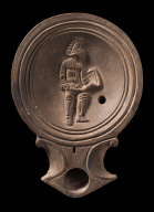 Lamp with depiction of a gladiator