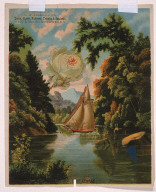 """Untitled (Lake George Landscape with White Rose and Sailboat, the Letter """"A"""" and Blue Wedge)"""
