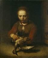 Young Girl Plucking a Duck