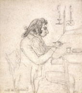 Portrait of J. M. W. Turner at a Drawing Table; verso: Mrs. Monro Asleep