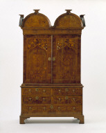 CABINET with marquetry of flowers, initials and family arms