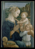 VIRGIN AND CHILD WITH AN ANGEL: print after a painting by Fra Filippo Lippi
