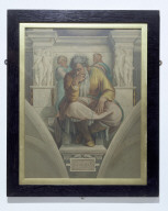 THE PROPHET JEREMIAH: print after the fresco in the Sistine Chapel by Michelangelo