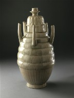 Lidded Funerary Urn (Hu) with Five Spouts and Lotus Petals