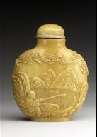 Snuff Bottle (Biyanhu) with Fisherman and Horse