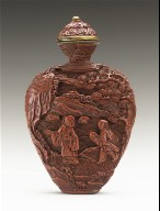 Snuff Bottle with Scholars in Landscape