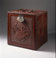 Chest with Cartouche Showing Figures on Donkeys in a Landscape, Magnolias, Plum Blossoms, Peonies, Birds, and Butterflies