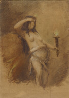 Half-nude Female with Torch