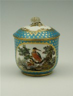 Sugar Bowl: Tea Service with Birds, Turquoise Blue Ground