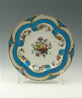 Plate: Part of a Dessert Service with Flowers and Turquoise Blue Ribbons