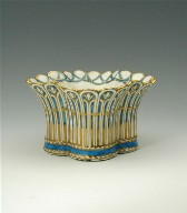 Small Basket-Shaped Jardinière, Turquoise Blue Trim