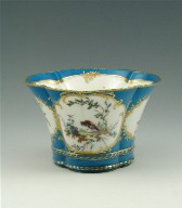 Small Four-Lobed Jardinière with Birds, Turquoise Blue Ground