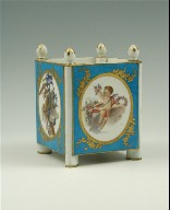 Cubical Jardinière with Cupids and Trophies, Turquoise Blue Ground