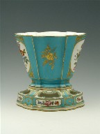 Fan-Shaped Jardinière and Stand with Shepard Scene, Turquoise Blue Ground