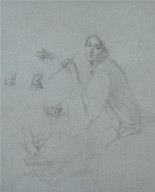Seated figure of a woman with sketches of hands and feet