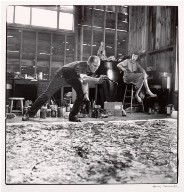 Jackson Pollock painting One and Lee Krasner