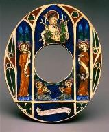 Oval Plaque with Saint Edmund and Angels