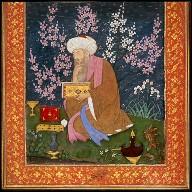 Poet in a Flower Garden / Persian Text