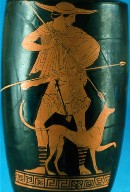 Lekythos (oil bottle) with hunter and his dog