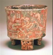 Frescoed tripod vase