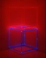 Red Box Over Blue Box Inside Corner Neon
