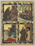 Leaf from a Royal Manuscript, with Scenes from the Life of Saint Francis