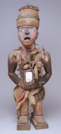 Nail and blade Oath Taking Image, nkisi nkonde standing male with bent knees, with nails and blades