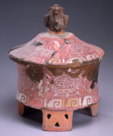 Lidded cylinder tripod vessel