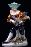Figurine of Harlequin with Mops (dog)