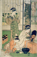 (Two Courtesans and a Maid) , right panel from the triptych, Rain after Parting at the Yoshiwara (Seiro kinuginu no ame sammaitsuzuki)