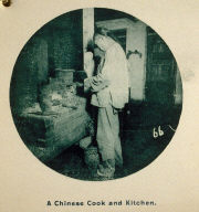 Photographic Album: Chinatown, San Francisco: A Chinese Cook and Kitchen