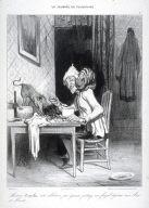 Monsieur Coquelet resté célibataire par égoïsme partage son frugal déjeuner avec Azor et Minette no. 3 of the series La journée du célibataire