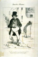 """En voila un de jobard! moi je suis de l'avis du proverbe: """"Ce qui est bon à prendre est bon à garder."""" no. 12 from the series Proverbes et maximes published in Le Charivari, 20 October 1840"""