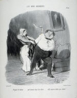 """""""Brigand de tailleur... quelle mauvais drap il me donne...... voilà encore un habit qu'a rétréci!..."""" no. 47 from the series Les bons bourgeois"""