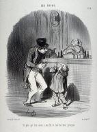 Un père qui fait sucer à son fils le lait des bons principes. no. 8 from the series Les papas